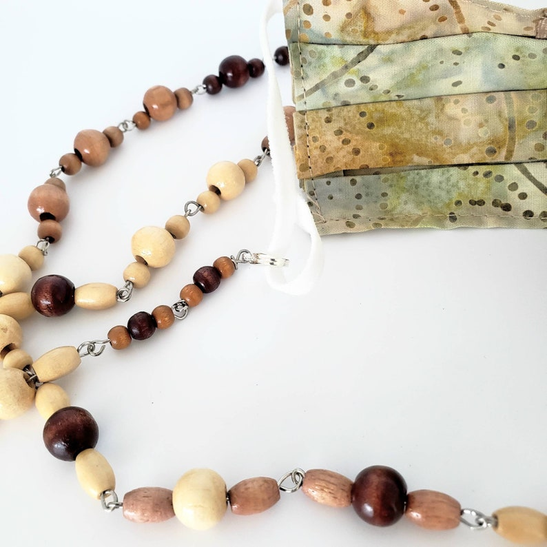 Silver /& Browns Three in One Multi Purpose Jewelry Gift for Mom Wood Beaded Necklace Face Mask Holder Eyeglass or Sunglass Chain Wife