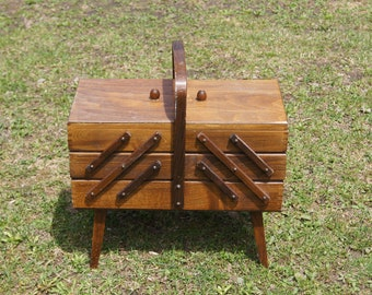 Antiques Furniture Vintage Sewing Box Storage Table Expandable 1960 A Great Variety Of Goods