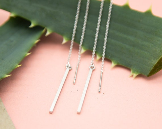 Minimalist Threading Earring Silver sticks. Rhodiumed Brass. Lemon and Pink