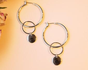 Creole silber, mit Kreis und Plättchen, silber farbig, rhodium veredeltes Messing. Hoops Lemonandpink