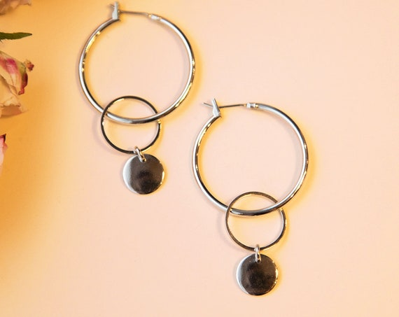 Creole silver, with circle and plate, silver colored, rhodium refined brass. Hoops Lemonandpink