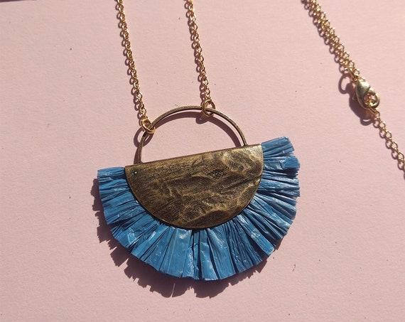 Boho Hippie necklace Blue, bast pendant long chain, antique brass, Lemonandpink