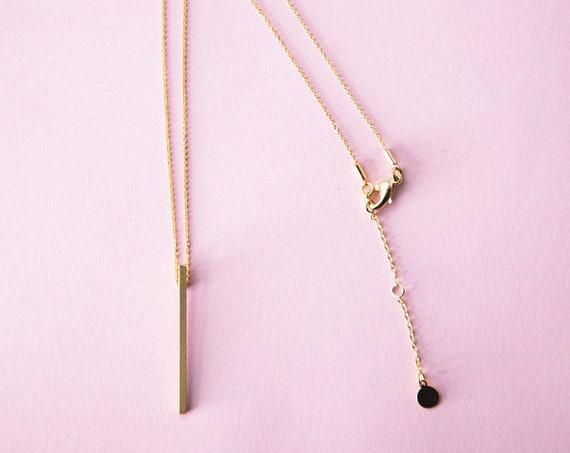 Rod chain Gold finished brass. Bar necklace, minimalist necklace. Lemon & Pink