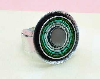 Ring in Mint, verstellbar, versilbertes Messing. Idealer Alltagsring mit Wow-Effekt. Ideales Geschenk. LemonandPinkBerlin