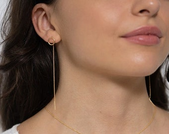 Minimalist pull-through earrings gold plated, 9 mm, also selectable in 925 silver. Handmade from Germany