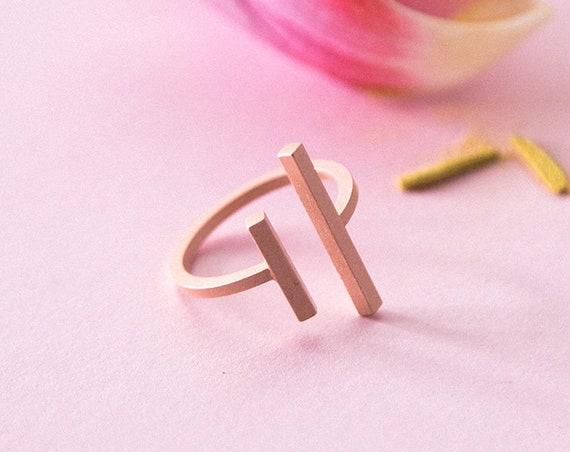 Ring Bar Rosé, adjustable, matt, rose gold refined brass.