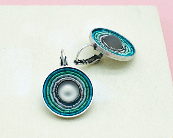 Silver-plated earrings in aqua, silver plated brass. Ideal everyday earrings with wow effect. Ideal Gift
