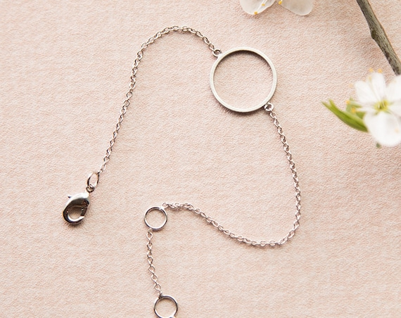 Delicate bracelet Circle silver colored, ring, round, rhodium refined brass. Delicate, filigree and minimalist.