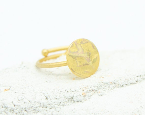 Minimalist ring gold colored, gilded brass. Adjustable. Matte and shiny surface! Beautiful look