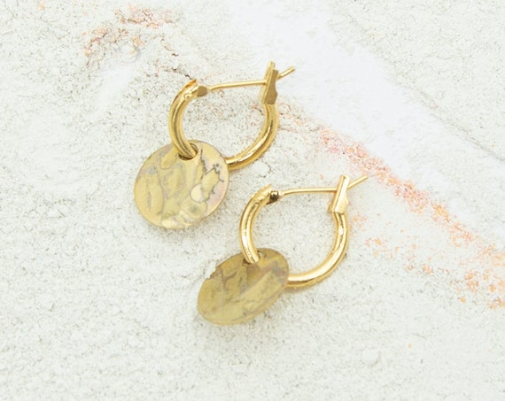 Small Creole gold colored. With round gilded plate pendant. Matte and shiny surface, beautiful look. Hoops!