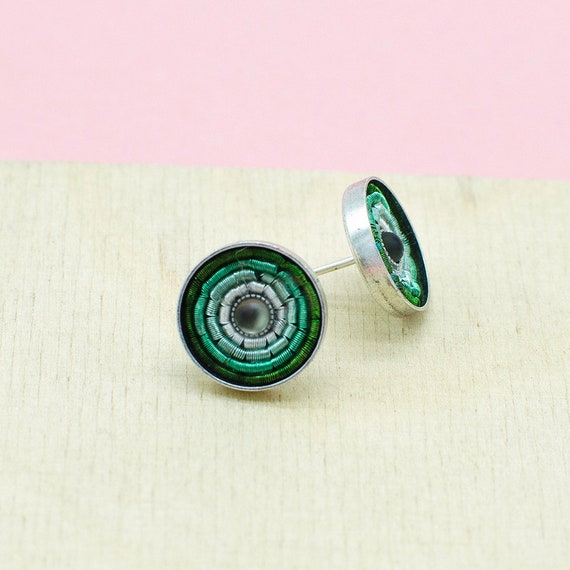 Silver studs in mint, plated brass. Ideal everyday earrings with wow effect. Ideal Gift