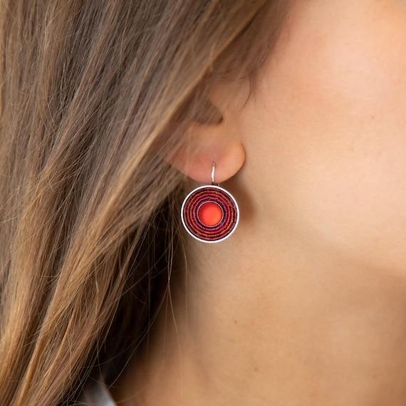 Silver earrings in red, plated brass. Ideal everyday earrings with wow effect. Ideal gift. LemonandPinkBerlin