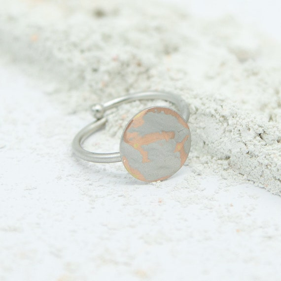 Minimalist ring silver colored, rhodiumed brass. Adjustable. Matte and shiny surface! Beautiful look