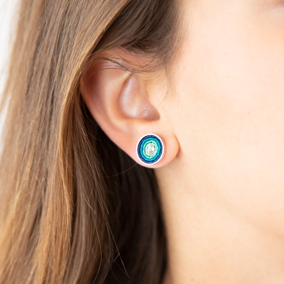 Blue stud earrings, silver plated brass. Ideal everyday earrings with wow effect. Ideal Gift