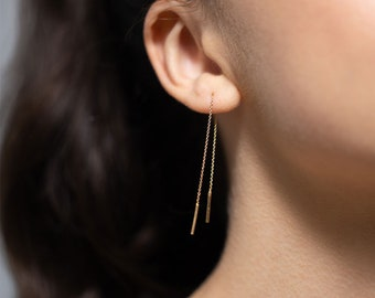Minimalist pull-through earrings gold plated, also selectable in 925 silver. Handmade from Germany