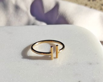 Ring gold plated with 2 rods, or 925 silver. Handmade in Berlin. Goldsmith's work.