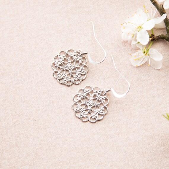 Earring Earrings Pattern Mandala Silver colored. Boho style. Hippie Chich. LemonandPink.