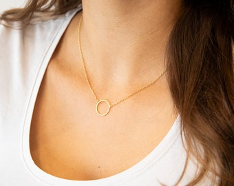 Simple golden necklace, circle, ring, short, gold-plated brass. Minimalist and filigree. Lemon &pink.