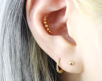 NEW! Dainty Beaded Bar Threadless Labret, Push Pin Stud, Beaded Ball Cartilage earrings, Tragus piercing, Entire Steel