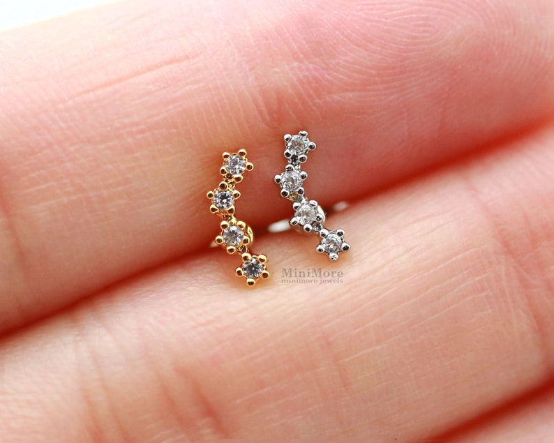 New Tiny Cz Curved Bar Piercing Tragus Earring Cartilage Etsy