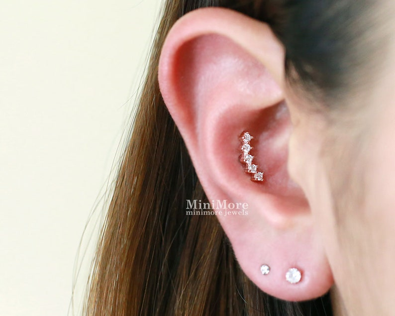 Cz Curved Bar Piercing Inner Conch Piercing Cartilage Etsy