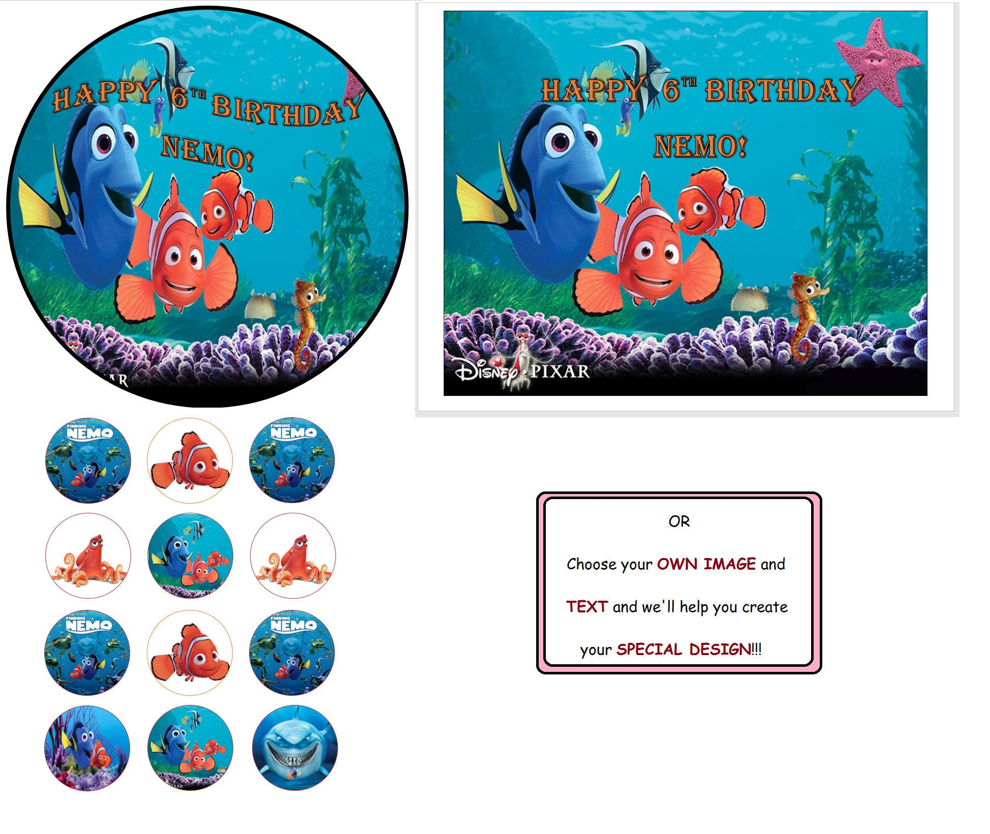 Finding Nemo Cake Topper Finding Nemo Cupcake Toppers Finding Nemo
