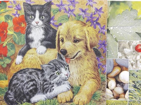 4 lose Lunch Servietten Napkins Katzen mit Mütze und Schal