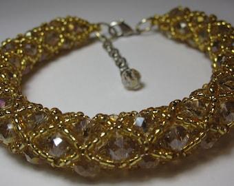 Beautiful Handmade Beige and Gold Beaded Bracelet, Jewelry 4
