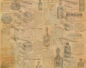 "Digital Printable Paper - Vintage, Distressed, Beauty Ads, 8.5"" x 11"" Letter Size, Scrapbook Paper, Journal Page Backing, Backing Sheet"