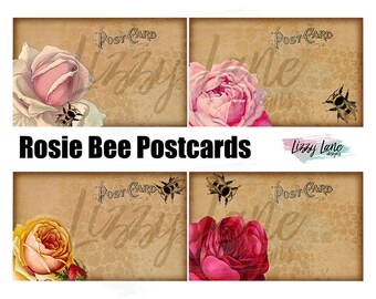 """Rosie Bee Vintage Postcards Collage Sheet - (4) 3"""" x 5"""" Postcards on 1 Sheet, Vintage & Distressed with Roses and Bees, PDF Download"""