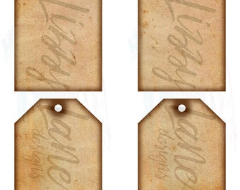"""Vintage and Distressed Tags Collage Sheet - (4) 3"""" x 5"""" Journal Tags on 1 Sheet, Vintage, Distressed, Old - Gift Tags, Journal Tags"""