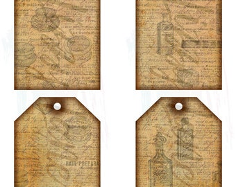 """Vintage Beauty Ad Tags Collage Sheet - (4) 3"""" x 5"""" Journal Tags on 1 Sheet, Vintage & Distressed with Old Beauty Ads and Handwritten Script"""