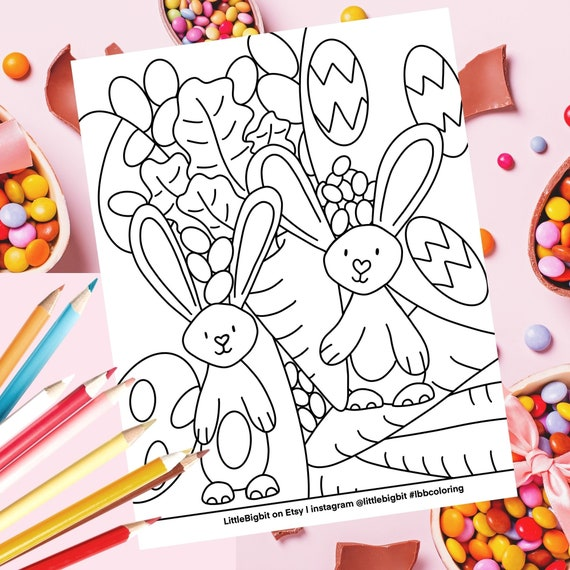 Easter Bunny Coloring Page  Hand drawn printable page
