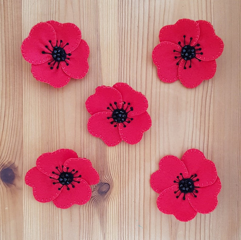 Red Poppy Flower Brooch Remembrance Day Memorial Day Etsy