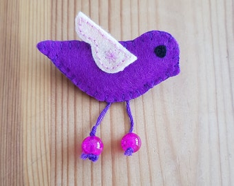 Handmade felt brooch in the shape of bird