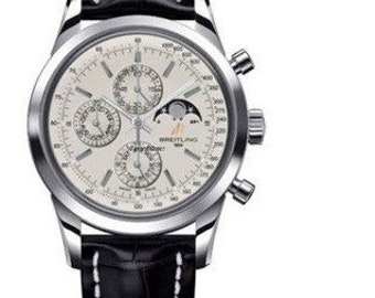Breitling A1931012/G750 Transocean 1461 Chronograph in Steel Croc Strap Perpetual Calendar and Moonphase