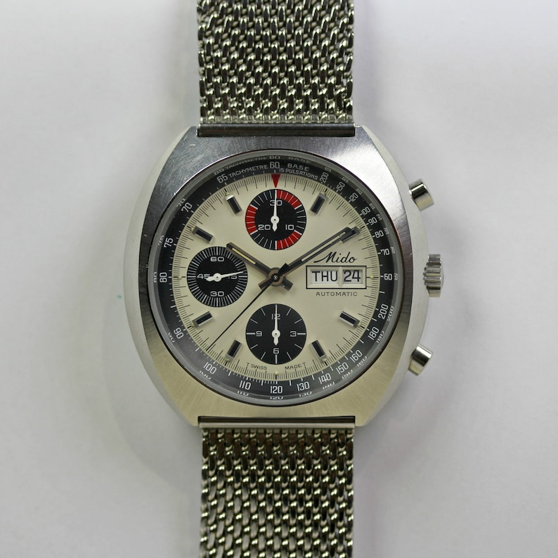 3aef5e012ff4 Vintage Stainless Steel Mido Automatic Chronograph Bracelet Watch Circa  1970 S