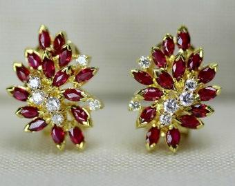 Vintage 18k Yellow Gold Cluster Earrings