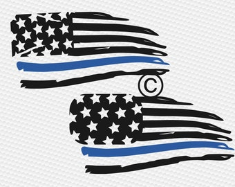 Thin blue line svg, Distressed American flag svg, Police svg, Law Enforcement, Back the blue, Blue lives matter, SVG, DXf, eps, png, pdf