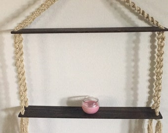 Macrame Dark Walnut Wood Shelf Wall Decor