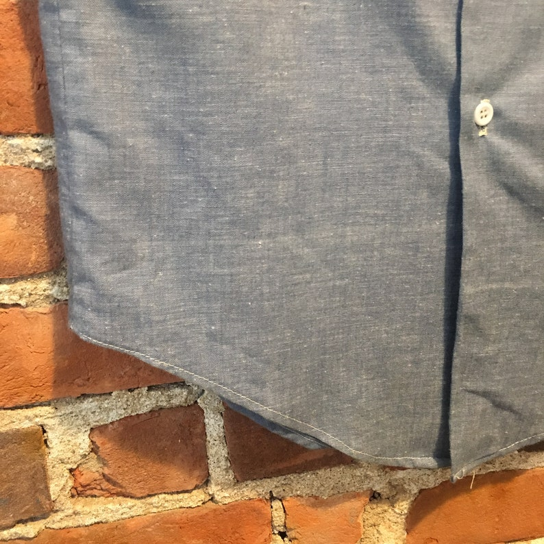 size Small Made in USA Vintage 70s Chambray Button Up Short Sleeve by King Kole Medium