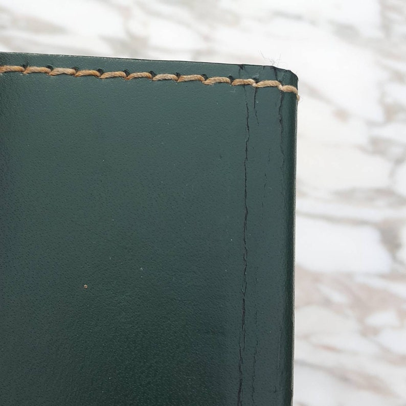 Paper Pages with Plastic Sleeves Green Leather Cover 3 Tall Small Vintage Photo Album My Grandchildren Grandparents Gift Satin Lined