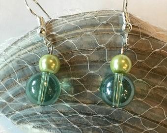 Sea-foam Green Glass Beaded Earrings