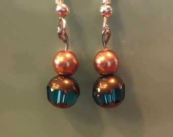 Teal and Gold Beaded Earrings