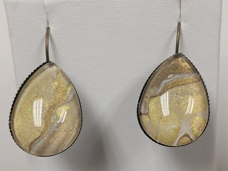 Teardrop Lever Back Earrings Oval Pendant Necklace Gold and White Hand Painted Jewelry Set Handcrafted Necklace Set Shimmery Jewelry