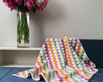Rainbow Blanket, Baby Girl Blanket, Crochet Baby Blanket, Knitted Baby Blanket, Square Pattern, Hand Knitted Multicolor Square Blanket Throw