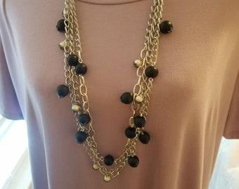 Three strand beaded chain necklace