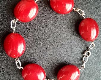 Large red acrylic bead bracelet