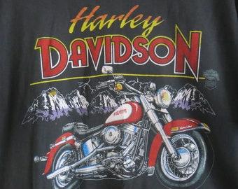 Harley Davidson Tshirt Bright Print Perfect Faded Condition M-L Womens