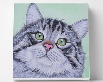Custom cat painting Cat face Illustration art Original painting of your cat Memorial gift Cat lovers decor Kids art Christmas gift